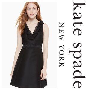 New Kate Spade NY Black Lace Mikado Dress